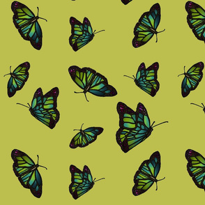 Butterflies on citrine background