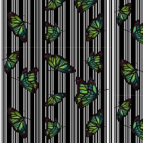 Steampunk Barcode Stripe Butterfly in white