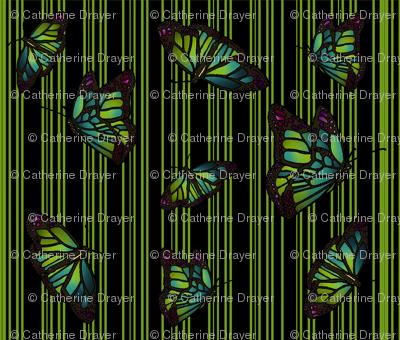 Steampunk Barcode Stripe Butterfly in green