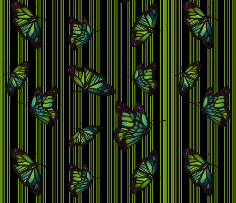 Steampunk Barcode Stripe Butterfly in green fabric by coppercatkin on Spoonflower - custom fabric