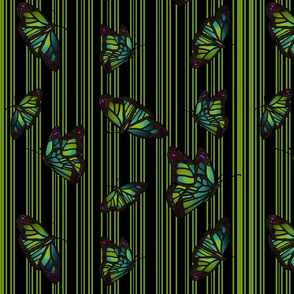 Steampunk Barcode Stripe Butterfly in green