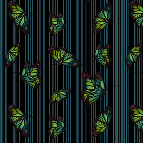 Steampunk Barcode Stripe Butterfly in turquoise