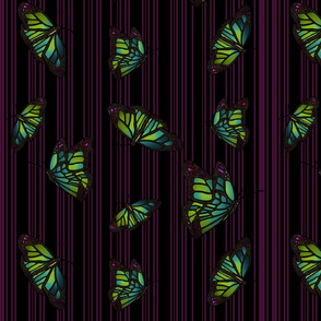 Steampunk Barcode Stripe Butterfly in dark magenta