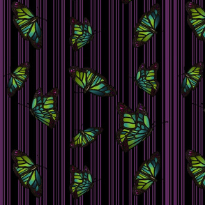 Steampunk Barcode Stripe Butterfly in purple