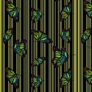 Steampunk Barcode Stripe Butterfly in citrine