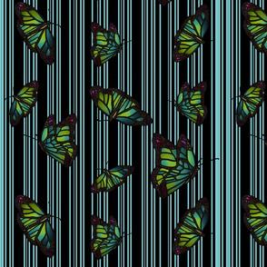 Steampunk Barcode Stripe Butterfly in sky
