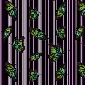 Steampunk Barcode Stripe Butterfly in mauve