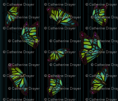 Steampunk Barcode Stripe Butterfly in dark turquoise