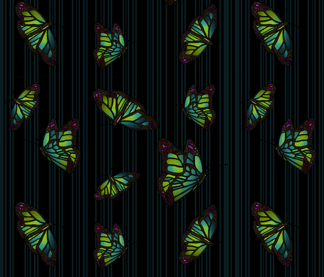 Steampunk Barcode Stripe Butterfly in dark turquoise fabric by coppercatkin on Spoonflower - custom fabric