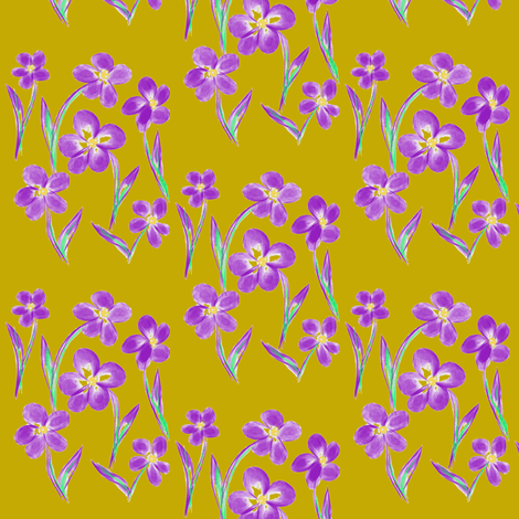 Dainty Meadow Flowers on Fields of Antique Gold fabric by rhondadesigns on Spoonflower - custom fabric