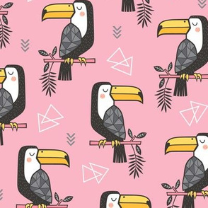 Toucan Bird Tropical Geometric Triangles on Pink