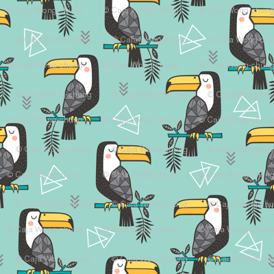 Toucan Bird Tropical Geometric Triangles on Mint Green