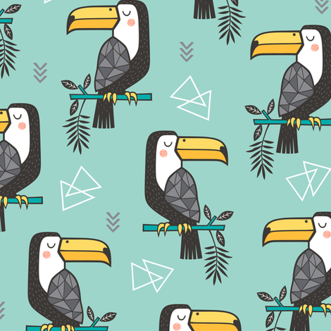 Toucan Bird Tropical Geometric Triangles on Mint Green fabric by caja_design on Spoonflower - custom fabric