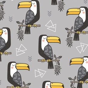 Toucan Bird Tropical Geometric Triangles on Grey