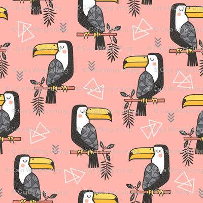 Toucan Bird Tropical Geometric Triangles on Peach