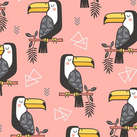 Toucan Bird Tropical Geometric Triangles on Peach fabric by caja_design on Spoonflower - custom fabric