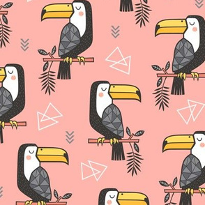 Toucan Bird Tropical Geometric Triangles on Peach