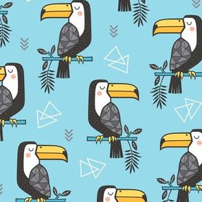 Toucan Bird Tropical Geometric Triangles on Blue