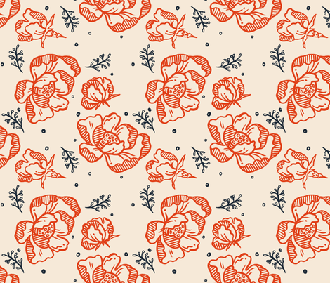 Red Blossom - Large fabric by khubbs on Spoonflower - custom fabric