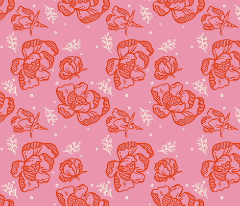Red Blossom Pink - Large fabric by khubbs on Spoonflower - custom fabric