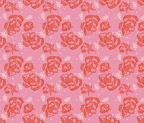 Red Blossom Pink - Medium fabric by khubbs on Spoonflower - custom fabric