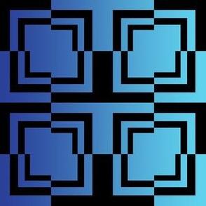 Broken Square TILE Black Cyan Blue