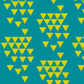citrus yellow geo triangle on teal