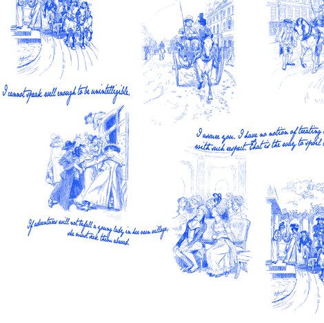 Northanger Abbey Toile Blue fabric by abucksworth on Spoonflower - custom fabric