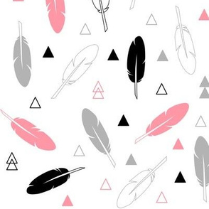 Feathers - Coral Gray and Black on White Tribal