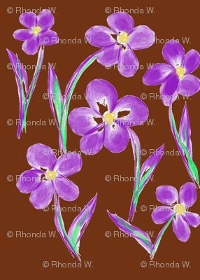 Dainty Meadow Flowers on Fields of Dark Chocolate Fudge