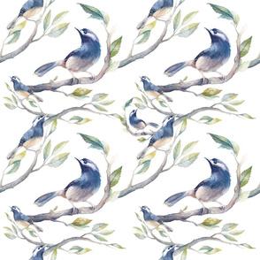 Watercolor birds pattern