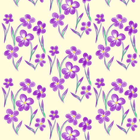 Dainty Meadow Flowers on Fields of Pale Cream fabric by rhondadesigns on Spoonflower - custom fabric
