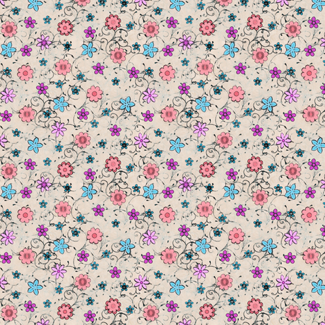 Folksy Flowers fabric by raccoons_rags on Spoonflower - custom fabric