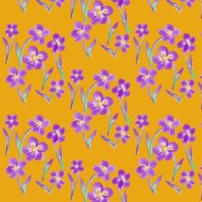 Dainty Meadow Flowers on a Field of Butterscotch - Small Scale