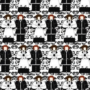 Ursula & Zacheus Black & White Colonial Dolls Fabric 1