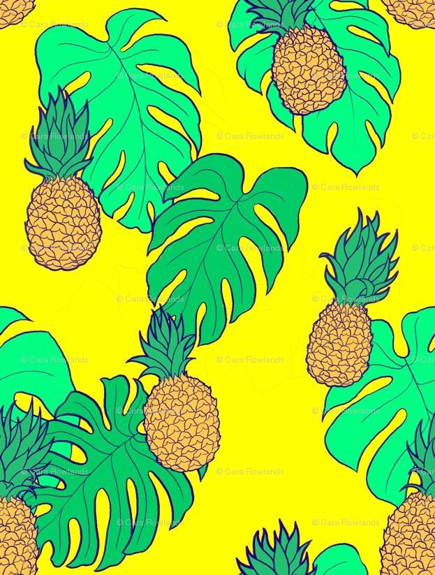 bf46a35a Pineapple and Monstera Leaves on Yellow Hawaiian Shirt Print wallpaper -  carabaradesigns - Spoonflower