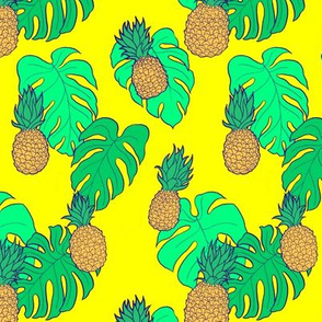 Pineapple and Monstera Leaves on Yellow Hawaiian Shirt Print