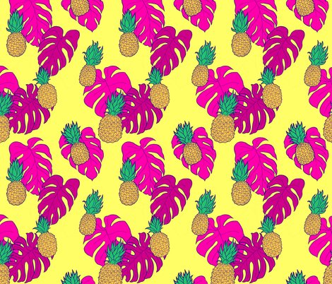 dcff69c5 Rhawaiian_shirt_with_pink_monstera_shop_preview. Pineapples and Pink  Monstera on Yellow Hawaiian Shirt Print fabric by carabaradesigns on  Spoonflower ...
