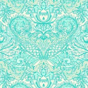 Detailed Decorative Art Nouveau Doodle in mint green