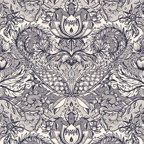 Detailed Decorative Art Nouveau Doodle in soft monochrome