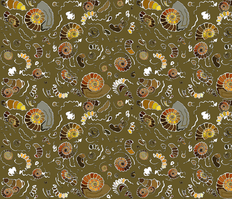 Limestone extra ammonites in khaki MEDIUM fabric by coppercatkin on Spoonflower - custom fabric
