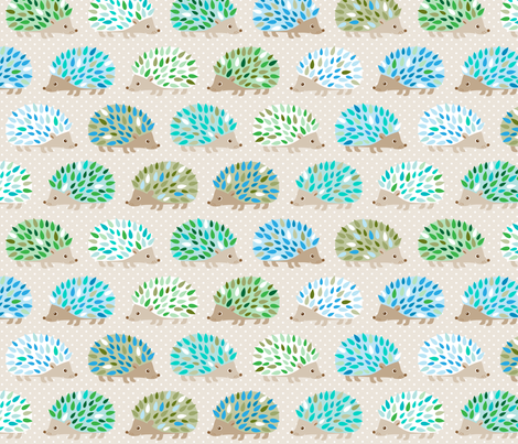 Hedgehog polkadot - blue and green fabric by heleenvanbuul on Spoonflower - custom fabric