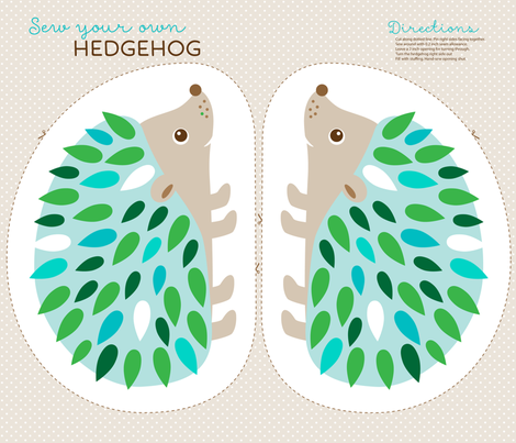 Hedgehog cut and sew - blue fabric by heleenvanbuul on Spoonflower - custom fabric