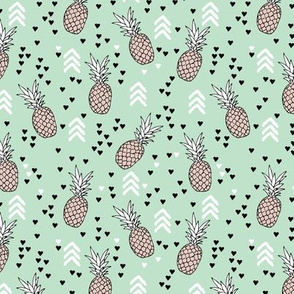 Tropical mint green and beige pineapple summer fruit geometric arrow pattern print Small