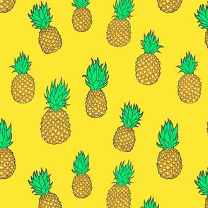 Pineapples on Sunny Yellow