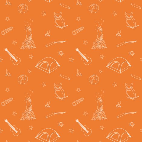 Summer Camp Nighttime Solid Orange Wallpaper