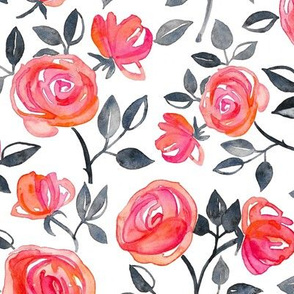 Roses on White - a watercolor floral pattern - large