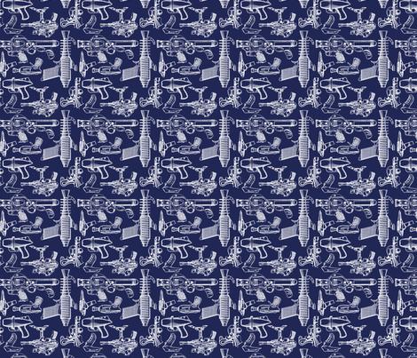 Ray Gun Revival (Navy Blue) (4x4) fabric by studiofibonacci on Spoonflower - custom fabric