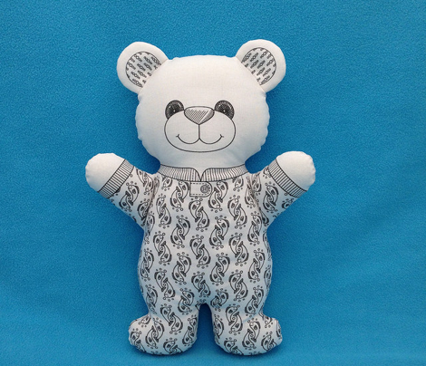 Bear in Pajamas in Black and White