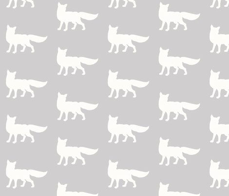Fox - Silver/ White -  fabric by sugarpinedesign on Spoonflower - custom fabric